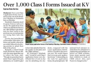 Over 1000 Class 1  Forms Issued at KV 10.2.15